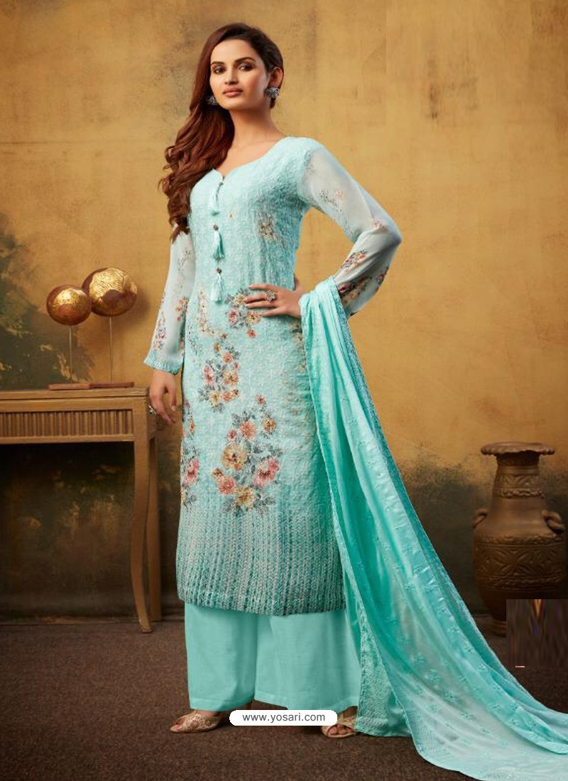 Sky Blue Designer Viscose Bemberg Georgette Party Wear Palazzo Salwar Suit