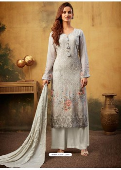 Light Grey Designer Viscose Bemberg Georgette Party Wear Palazzo Salwar Suit