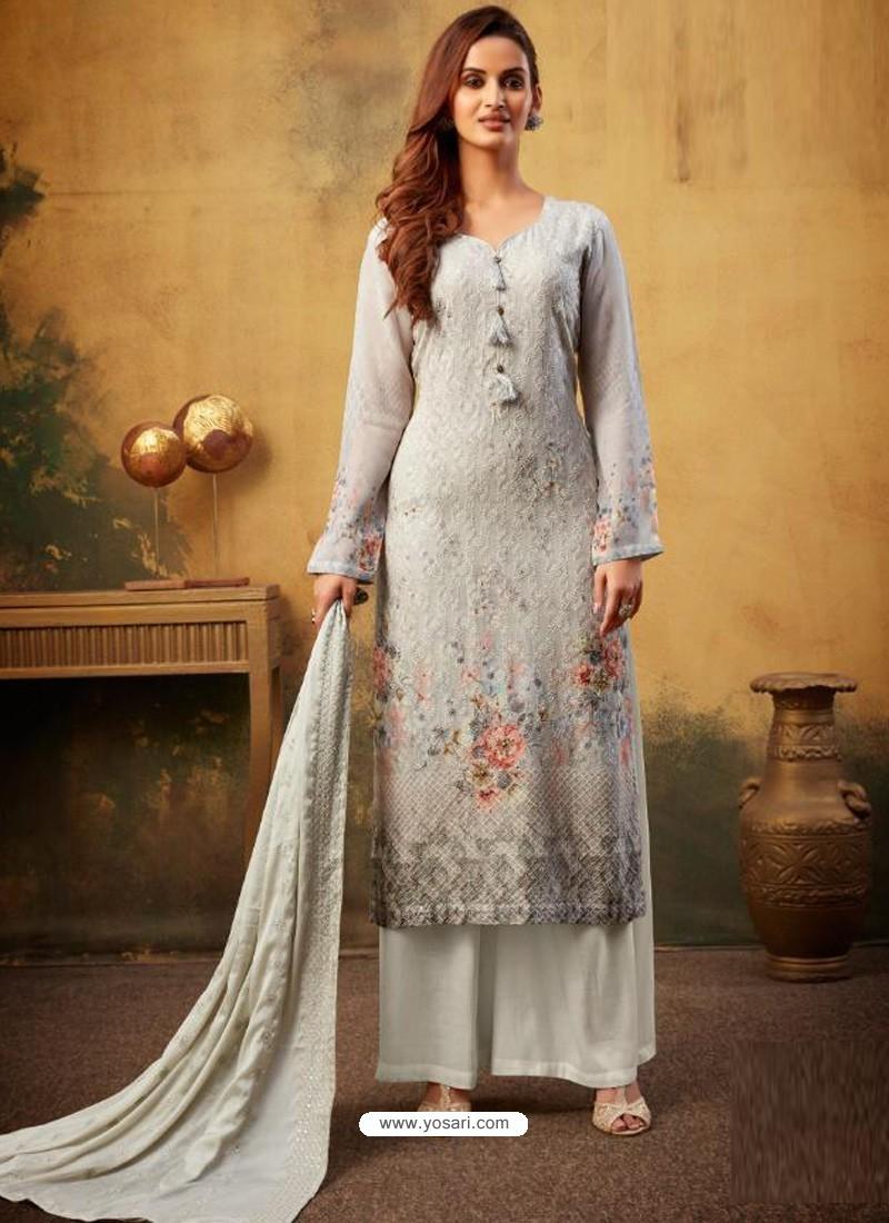 Light Grey Designer Viscose Bemberg Georgette Party Wear Palazzo Salwar Suit