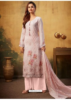 Baby Pink Designer Viscose Bemberg Georgette Party Wear Palazzo Salwar Suit