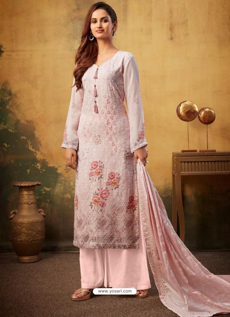 Baby Pink Designer Viscose Bemberg Georgette Party Wear Palazzo Salwar Suit