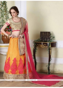 Perfervid Resham Work Orange A Line Lehenga Choli