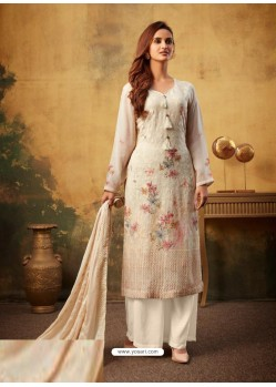 Light Beige Designer Viscose Bemberg Georgette Party Wear Palazzo Salwar Suit