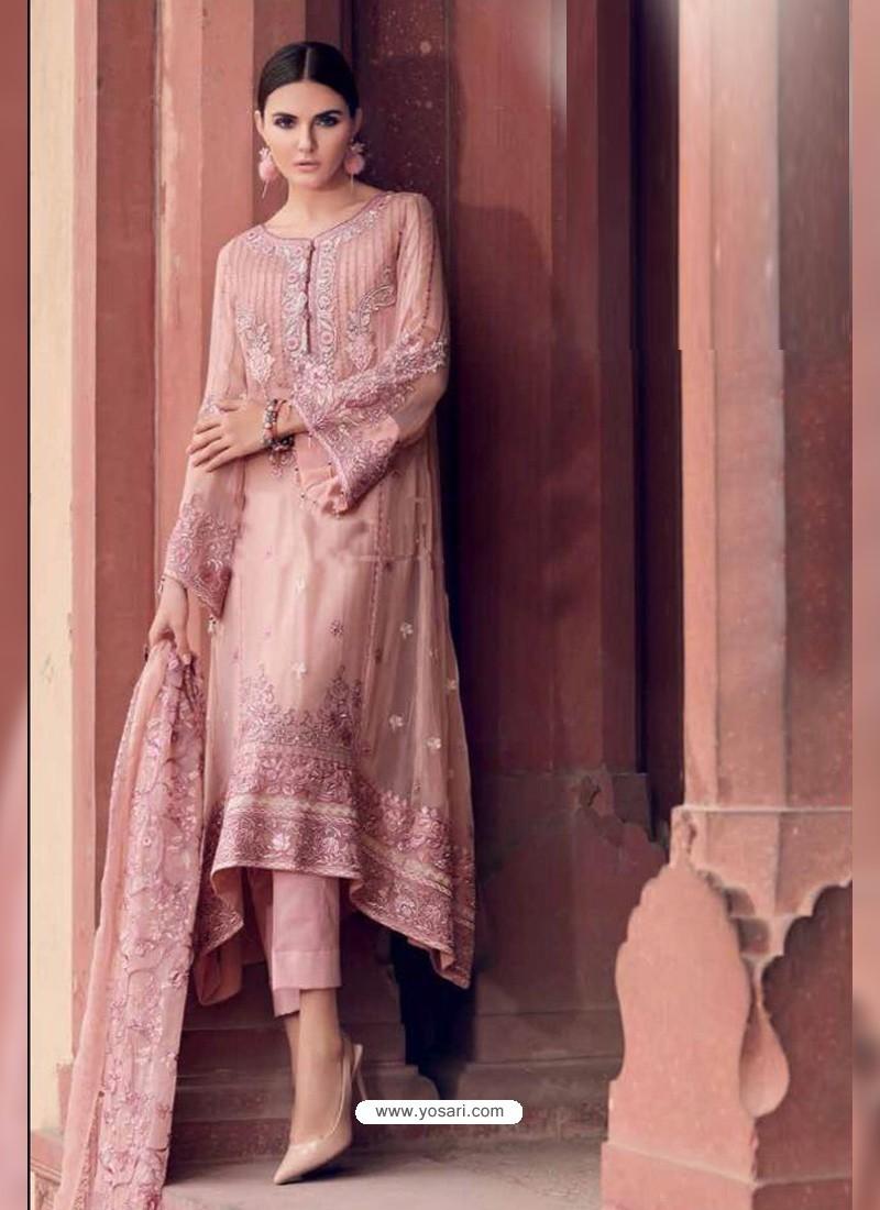 Baby Pink Heavy Designer Party Wear Faux Georgette Pakistani Suit