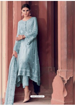 Sky Blue Heavy Designer Party Wear Faux Georgette Pakistani Suit