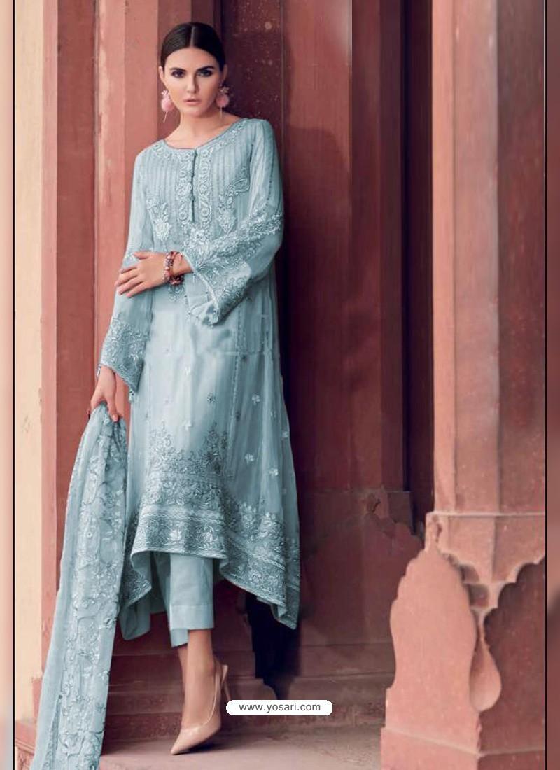 Sky Blue Heavy Designer Party Wear Faux Georgette Pakistani Suit