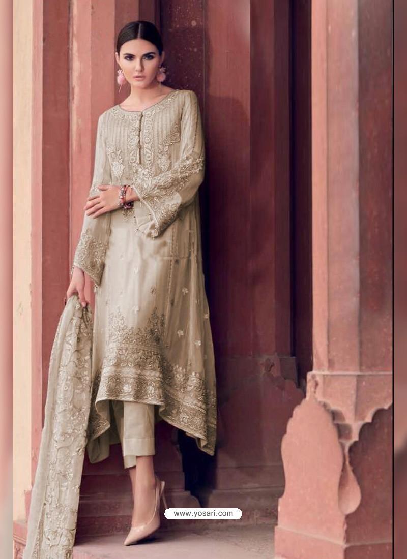 Gold Heavy Designer Party Wear Faux Georgette Pakistani Suit
