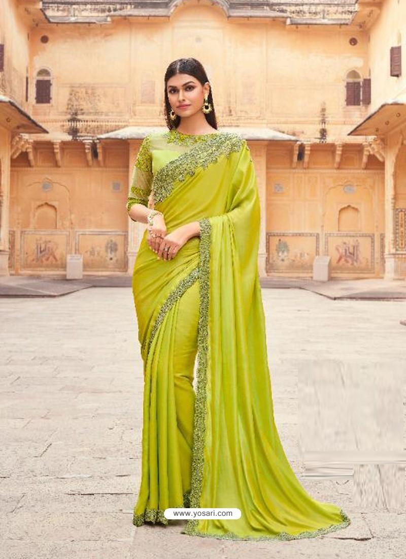 Parrot Green Flawless Designer Party Wear Sari