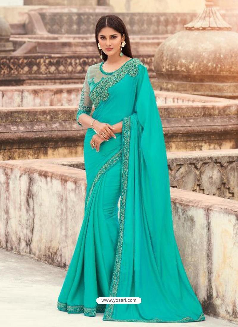 Turquoise Flawless Designer Party Wear Sari