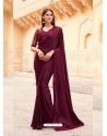 Maroon Flawless Designer Party Wear Sari