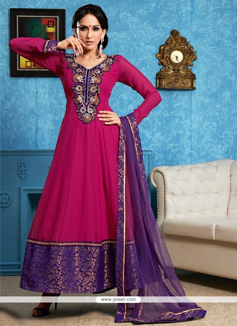 Hot Pink Georgette Anarkali Salwar Suit