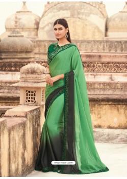 Green Flawless Designer Party Wear Sari
