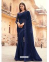 Navy Blue Flawless Designer Party Wear Sari