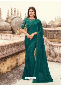 Teal Flawless Designer Party Wear Sari