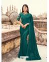 Teal Flawless Designer Party Wear Sari