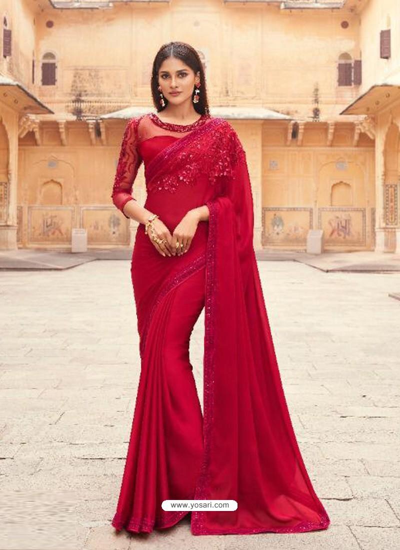 Red Flawless Designer Party Wear Sari