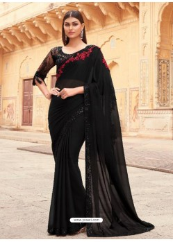 Black Flawless Designer Party Wear Sari
