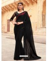 Black Flawless Designer Party Wear Sari