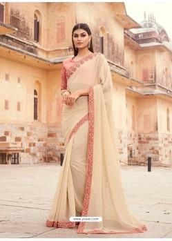 Light Beige Flawless Designer Party Wear Sari