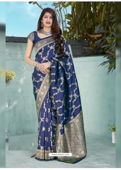 Dark Blue Latest Designer Classic Wear Silk Sari