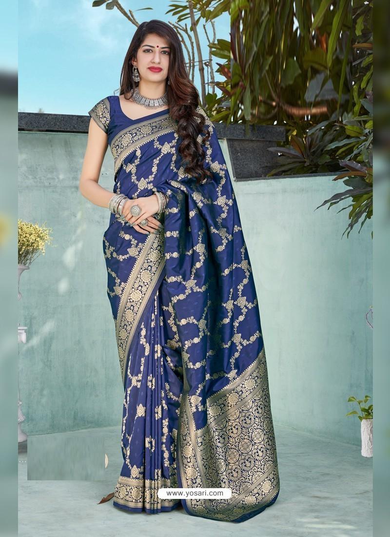 Dark Blue Latest Designer Classic Wear Silk Sari