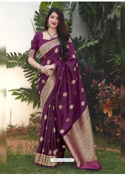 Purple Latest Designer Classic Wear Silk Sari