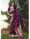 Purple Latest Designer Classic Wear Silk Sari