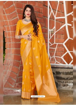 Yellow Latest Designer Classic Wear Silk Sari
