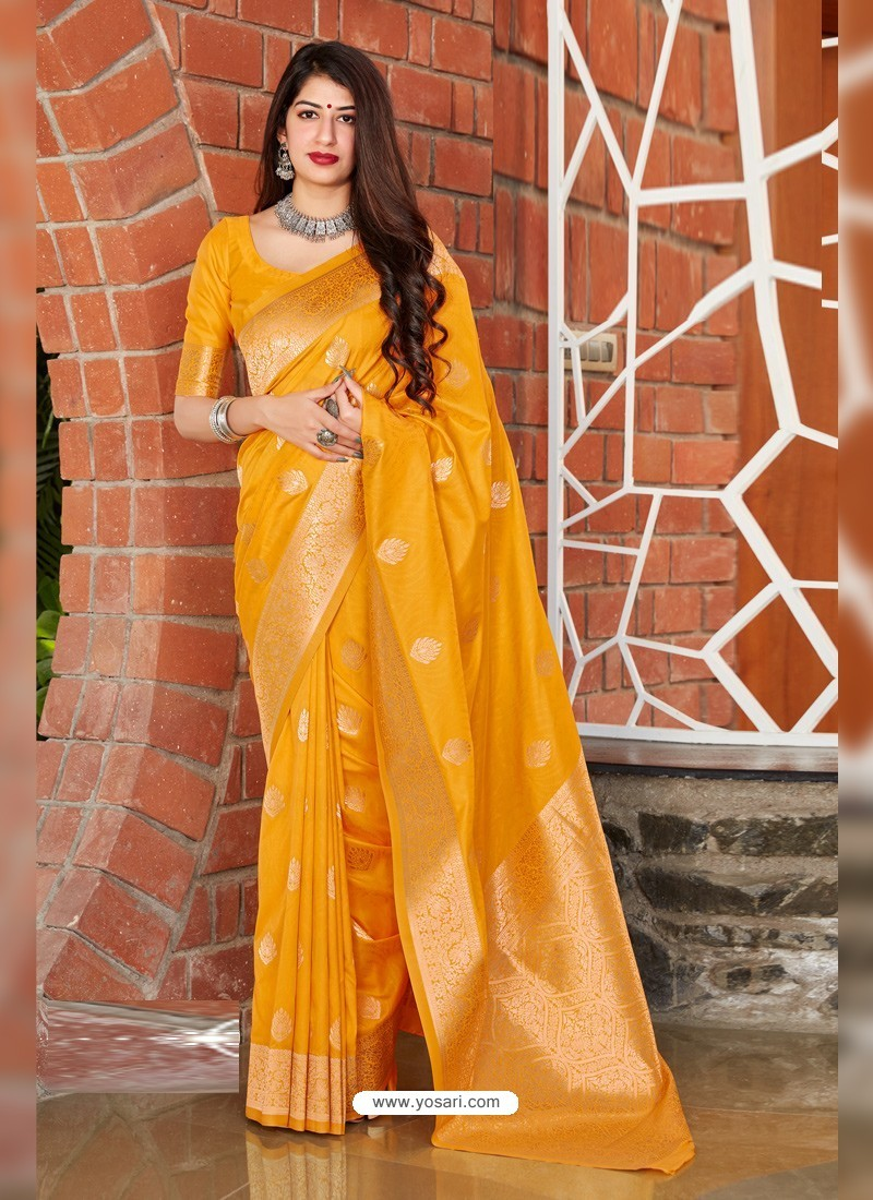 Yellow Latest Designer Classic Wear Silk Sari