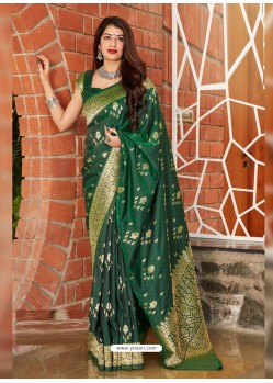 Dark Green Latest Designer Classic Wear Silk Sari