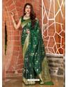 Dark Green Latest Designer Classic Wear Silk Sari