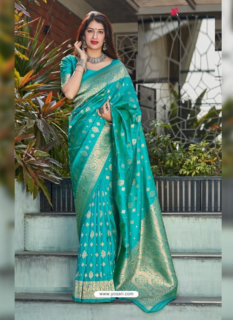 Turquoise Latest Designer Classic Wear Silk Sari