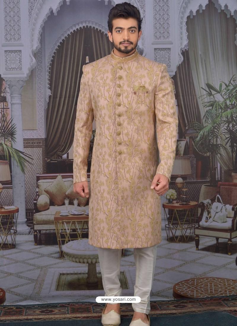 Peach Readymade Designer Indo Western Sherwani