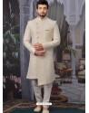 Off White Readymade Designer Indo Western Sherwani
