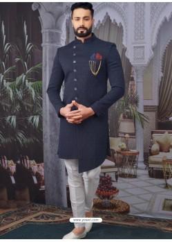 Navy Blue Readymade Designer Indo Western Sherwani