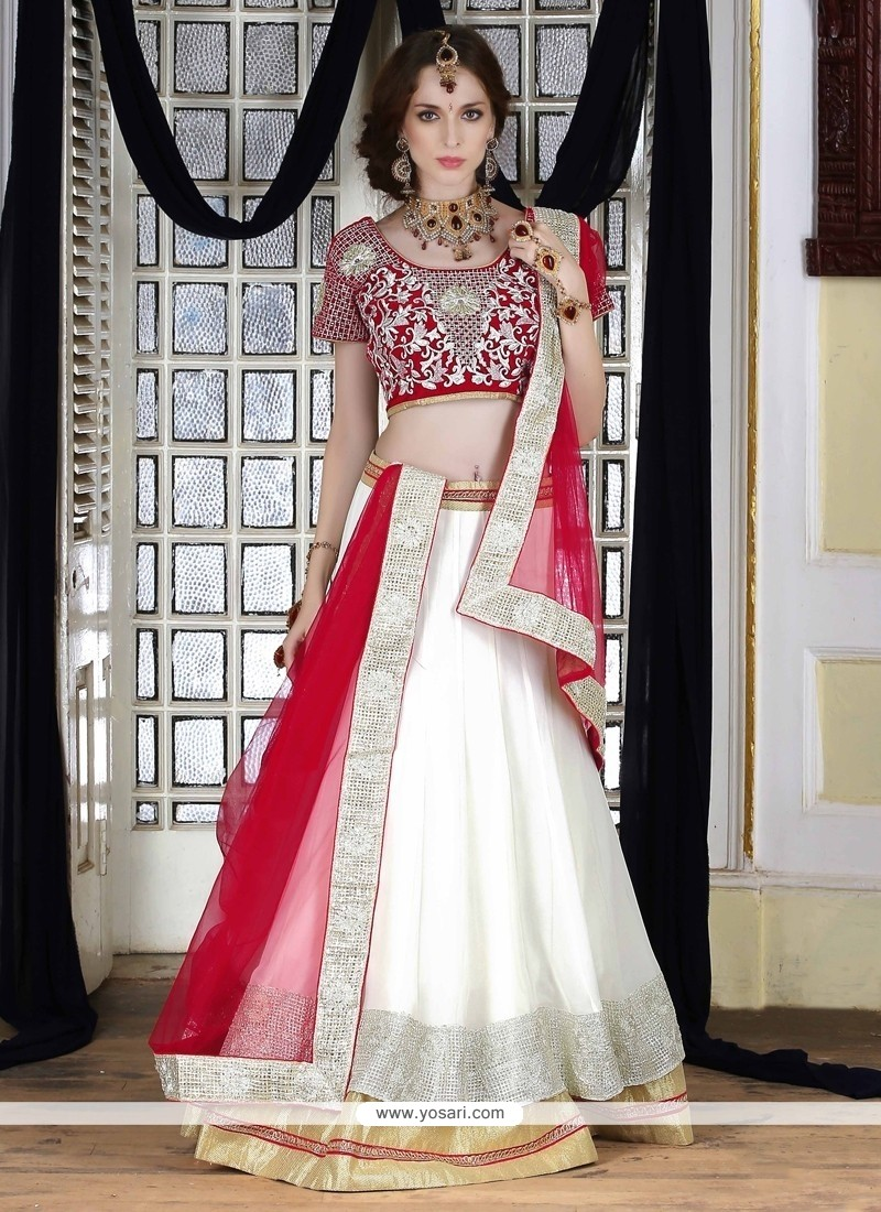 Luscious White Patch Border Work Net A Line Lehenga Choli