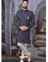 Dark Grey Readymade Designer Indo Western Sherwani