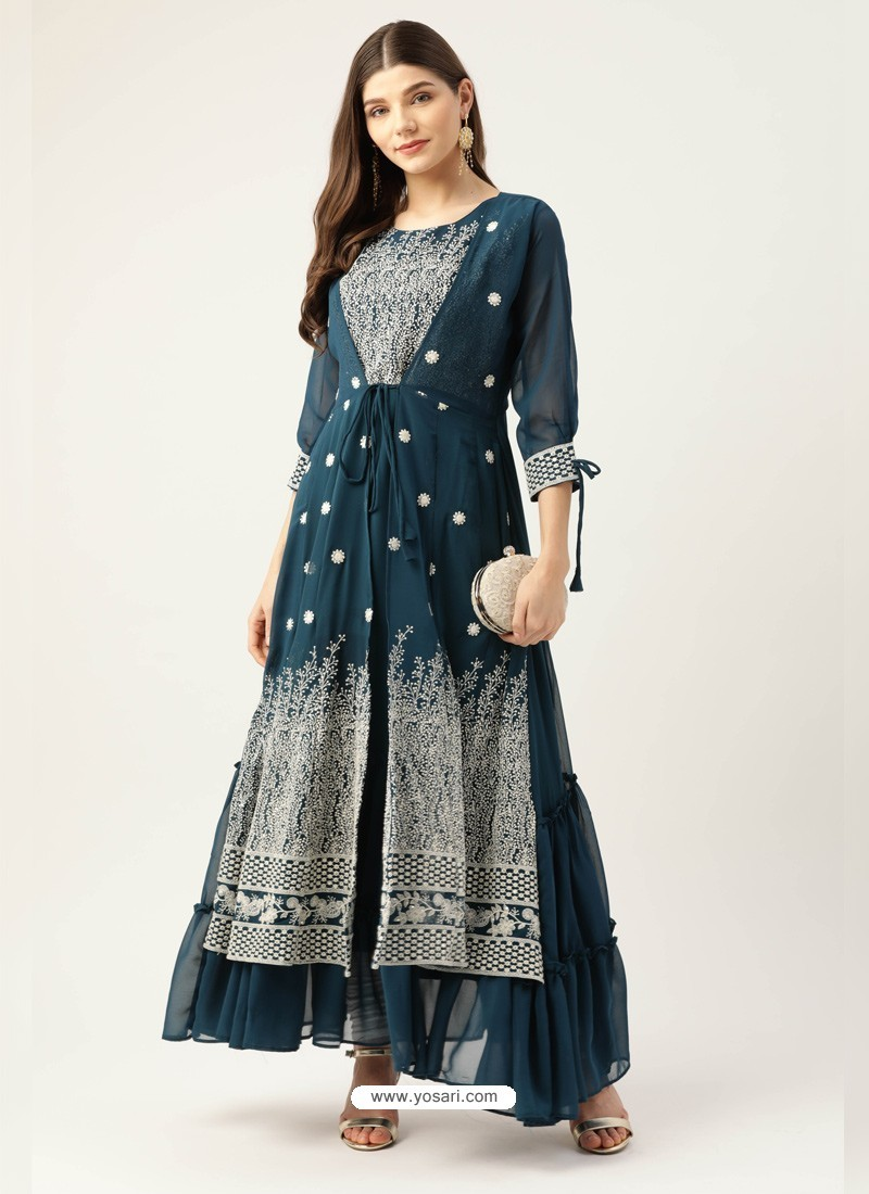Teal Blue Designer Readymade Party Wear Kurti With Attached Shrug