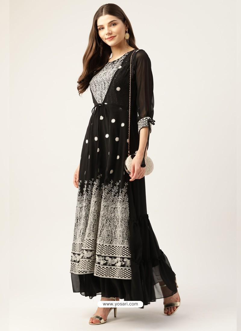 Black Designer Readymade Party Wear Kurti With Attached Shrug