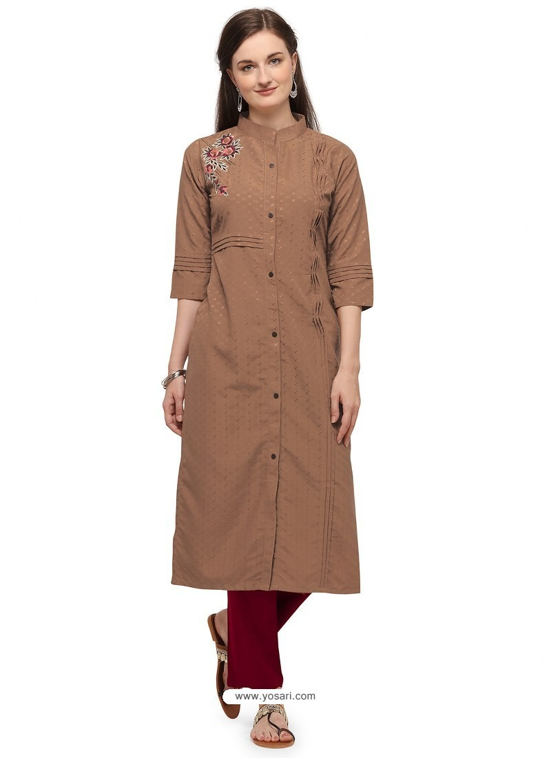 Camel Designer Readymade Party Wear Cotton Kurti With Palazzo