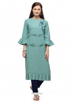 Sky Blue Designer Readymade Party Wear Cotton Kurti With Palazzo