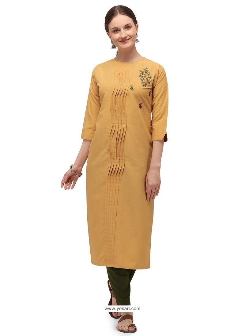 Mustard Designer Readymade Party Wear Cotton Kurti With Palazzo