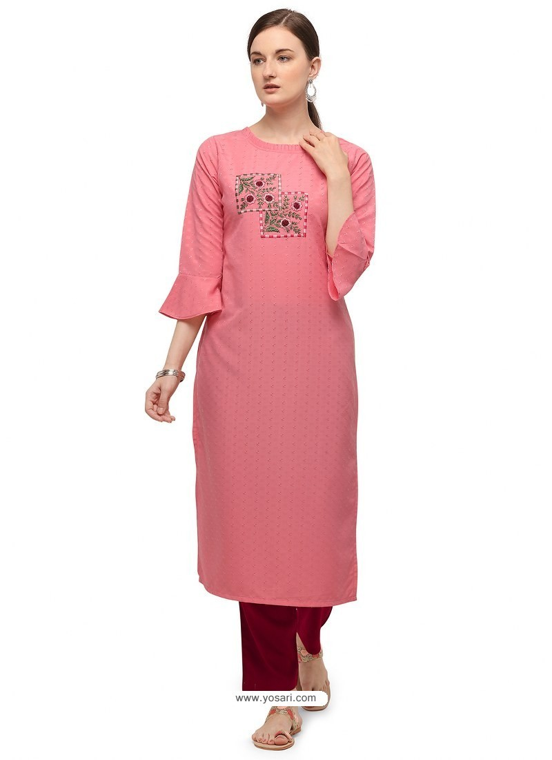 Pink Designer Readymade Party Wear Cotton Kurti With Palazzo