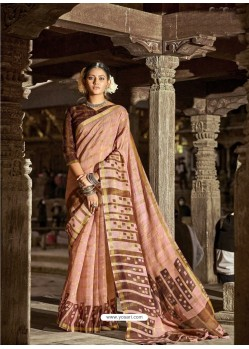 Light Orange Latest Casual Wear Designer Printed Soft Cotton Sari