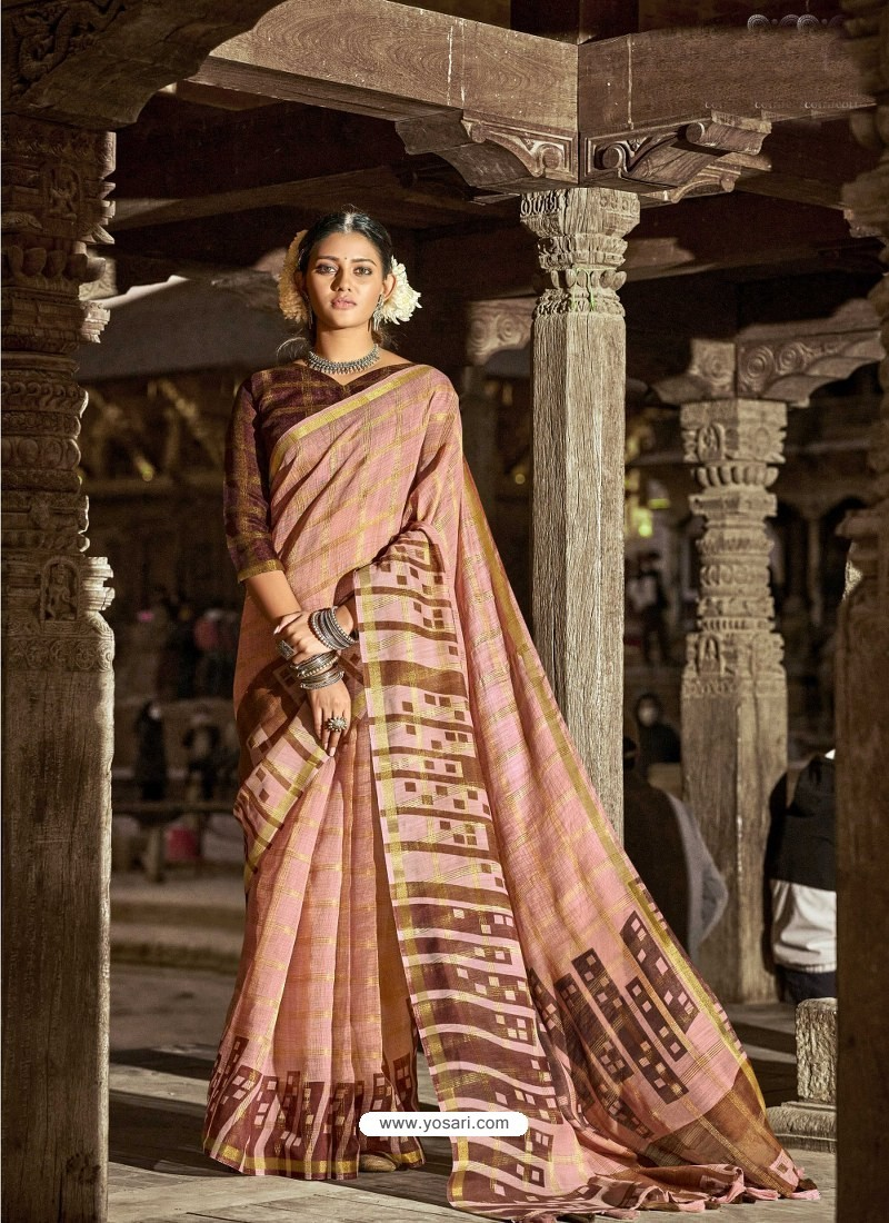 Light Orange Latest Casual Wear Designer Printed Soft Cotton Sari