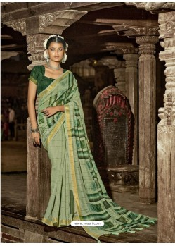 Green Latest Casual Wear Designer Printed Soft Cotton Sari