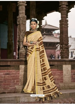 Cream Latest Casual Wear Designer Printed Soft Cotton Sari