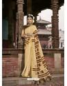 Cream Latest Casual Wear Designer Printed Soft Cotton Sari