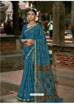 Teal Blue Latest Casual Wear Designer Printed Soft Cotton Sari