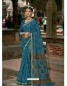 Teal Blue Latest Casual Wear Designer Printed Soft Cotton Sari